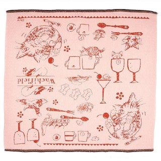 わちふぃーるど 猫のダヤン ダイヤ織ふきん 猫は液体・ピンク