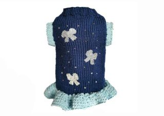 96-sweater dress with crystals bows【IT-DOGS】