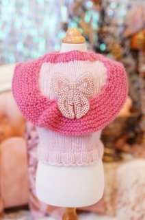 39-pullover cashmere pink and fucsia squirrell crystals【IT-DOGS】