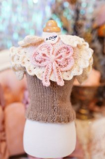 8-pullover brown bib pink and ivory with bow cashmere【IT-DOGS】