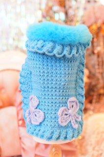 51-coat turquoise crochet【IT-DOGS】