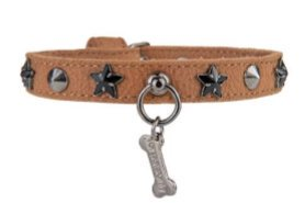 HOT STAR COLLAR TABACCO  ALCANTARA【for pets only】