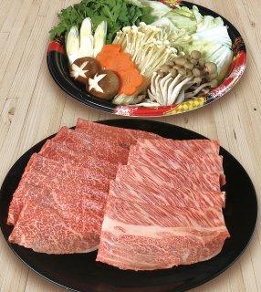 A5最高級黒毛和牛(メス牛)肩ロース+モモすき焼きセット3〜4人前