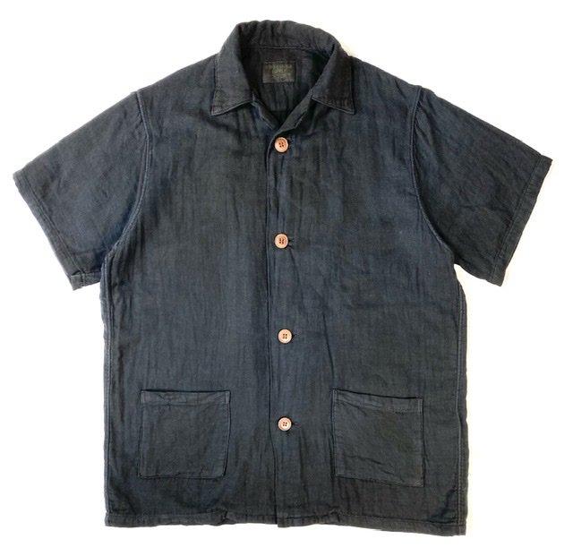 Open Necked Shirts Indigo Mud