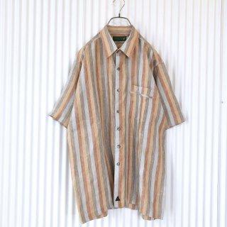テラコッタストライプ 透かし柄シャツ