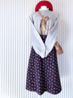 小さな花束 コーデュロイフレアースカート