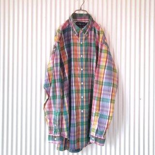 Ralph Lauren ポロ刺繍 マドラスチェックB.Dシャツ