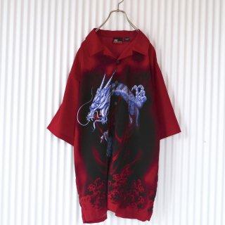 神龍ゆるBIGシャツ/Dark RED/XL