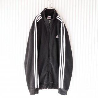 adidas 3ラインフルジップスウェット/黒×白
