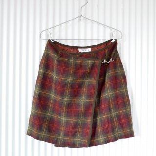 WOOLチェック パイピング巻きスカート