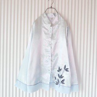 みずいろサテン×オーガンジー カンフーシャツ