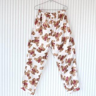 赤いリボンのテディベア サテンパジャマパンツ