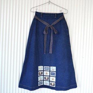 WONDERFUL WORLD くまちゃん×フラワーワッペン ボタンスカート
