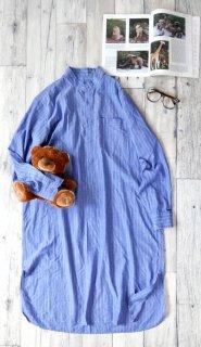 バンドカラーロングパジャマシャツ