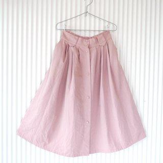フロントボタン ふんわりロングスカート/くすみピンク