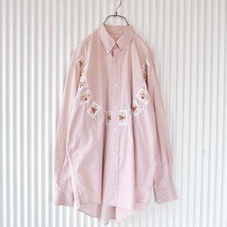 WONDERFUL WORLD くまちゃんワッペン ギンガムチェックシャツ