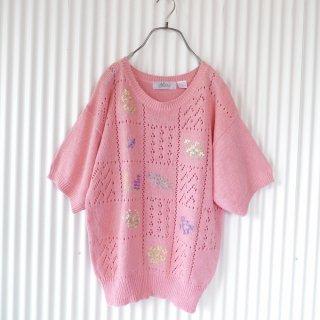 小花刺繍と透かし編みのサマーニット