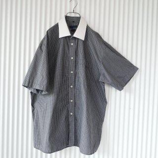 黒チェック×白襟 モノトーンシャツ/XL