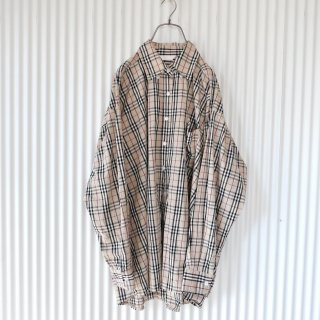 Beige check BIG shirt