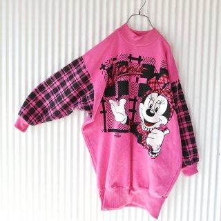 Check Minnie ハイネックロングスウェット/Pink