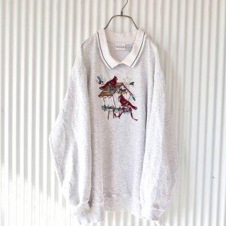 フリルカットリブ襟 Red Bird 刺繍スウェット