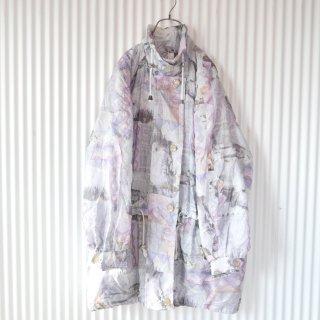 EURO 90's 寒色水彩パターンナイロン中綿コート