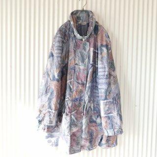 EURO 90's 水彩パターンナイロン中綿コート