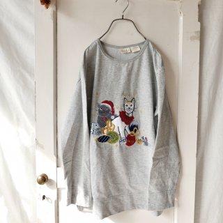 Bobbie Brooks クリスマス猫ちゃん刺繍アップリケスウェット