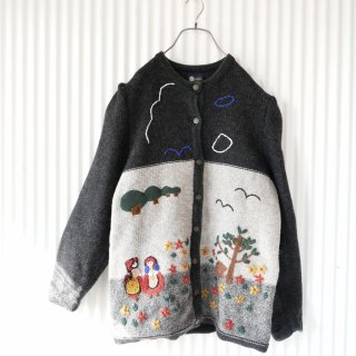 Your Sixth Sense 少女と風景の刺繍 パフスリーブニットジャケット