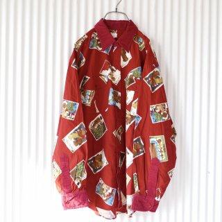 PINK HOUSE コーデュロイ襟 くまちゃんカード総柄シャツ