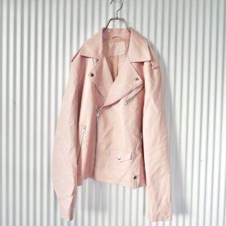 フェイクレザーライダースジャケット/Baby Pink