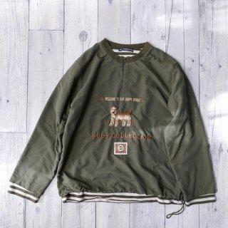 Dogs Collection ワンちゃん刺繍ハーフジッププルオーバー