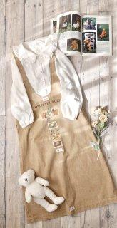 WONDERFUL WORLD くまちゃん刺繍×ワッペン ジャンパースカート