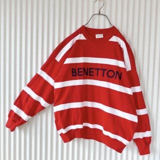 BENETTON ロゴ刺繍ボーダースウェット