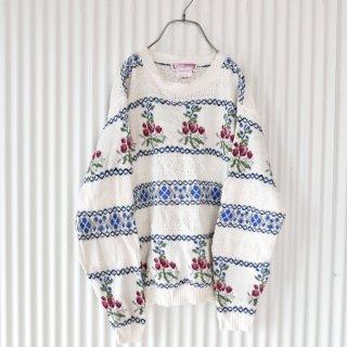 リトルフラワー飾り編みスプリングニット/Canada