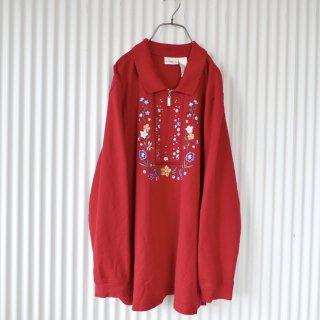 チロリアン刺繍襟付きハーフジップトップス