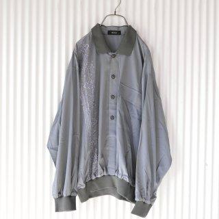 刺繍×リブ襟 ハーフボタントップス