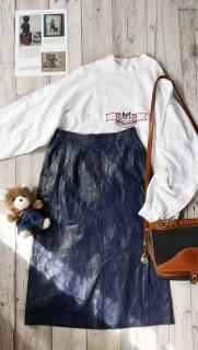 ソフトレザーロングスカート/Navy blue