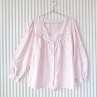 Barbison フラワー刺繍×レース パジャマブラウス