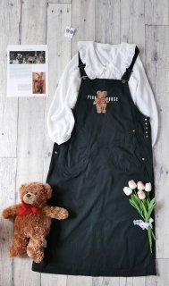PINK HOUSE collection テディベア刺繍ジャンパースカート/くろ