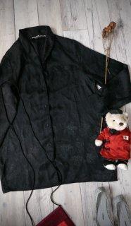 ブラックサテンパジャマシャツ/透かしフラワー
