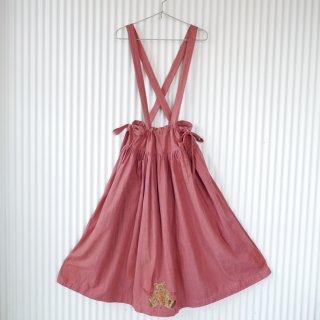 WONDERFUL WORLD 前後くまちゃん刺繍ロング吊りスカート