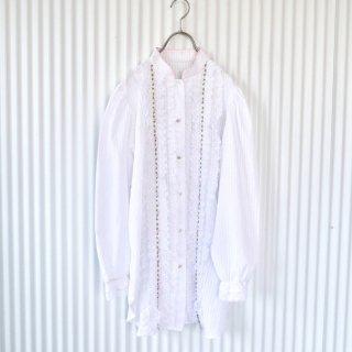 フラワーレース×小花刺繍 スタンドカラーブラウス