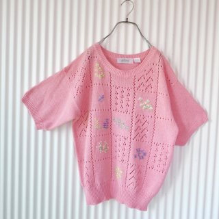 Alicia 小花刺繍のサマーニット