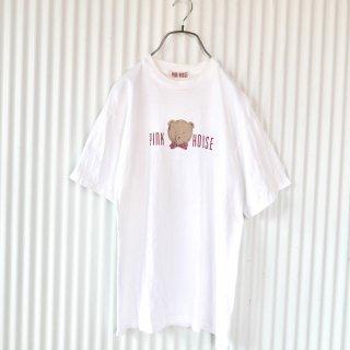 PINK HOUSE レトロ顔くまちゃん×ロゴTee /しろ