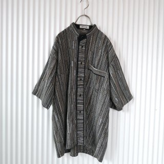 ELLCO チェーンストライプ バンドカラーシャツ