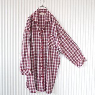 タータンチェック パジャマシャツワンピース