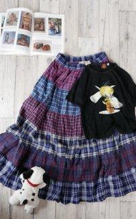 St John's Bay パッチワークチェック テイアードスカート