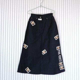 PINK HOUSE くまちゃんワッペン×縦ロゴスカート/くろ