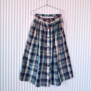 NAUTICA ミントチェックフロントボタンスカート